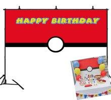 Feliz aniversário fotografia backdrops vermelho branco pokemon fundo bebê criança foto estúdio adereços festa decoração do vinil cartaz