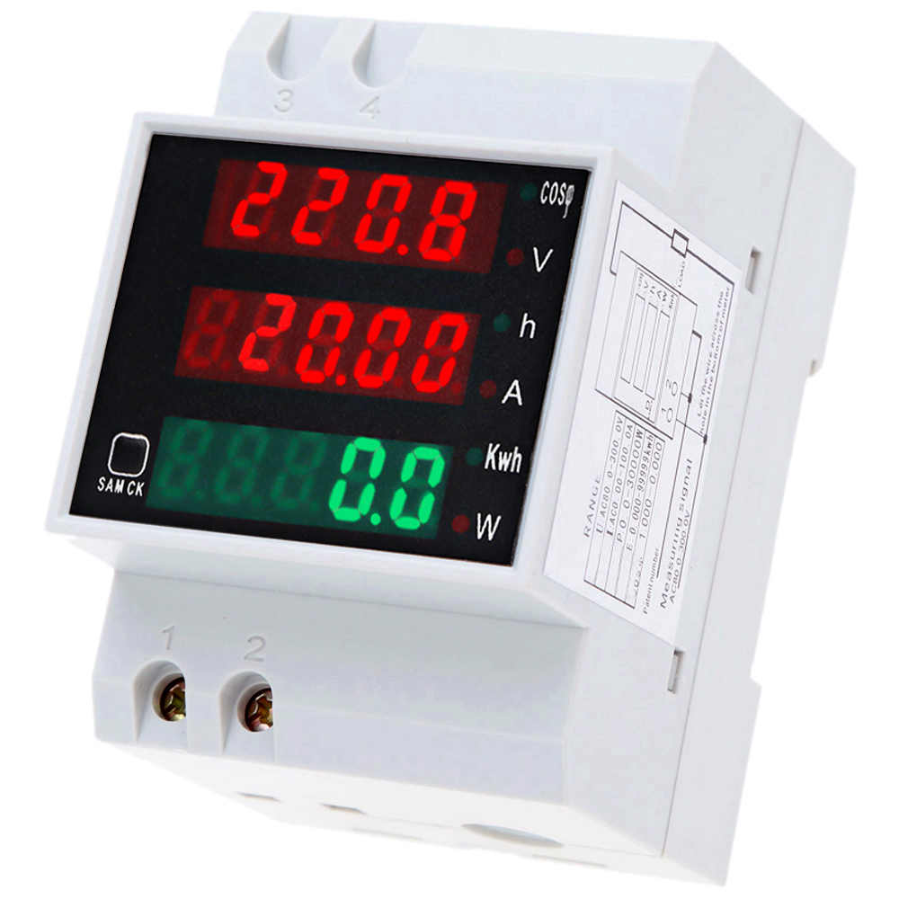 D52-2047 AC80-300V 100A Multi-Functionele Digitale Din Rail Current Voltage Power Factor Meter Ammeter Voltmeter Amperemeter