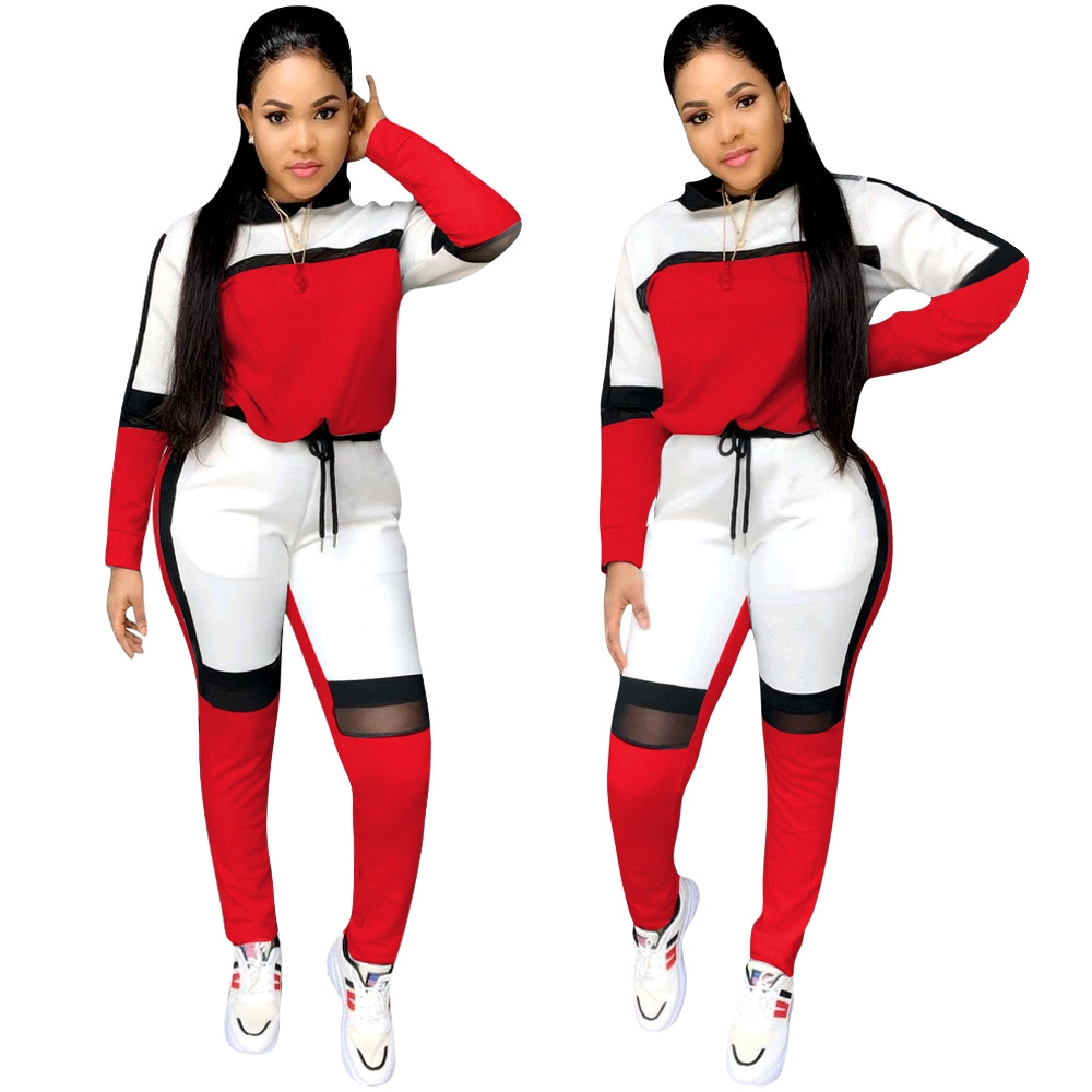 2 Piece Sport Wear Patchwork Hooded Hoodie Top Pants Fitness Clothing Clothes Set Women Sportswear Sport Suit Women Tracksuit