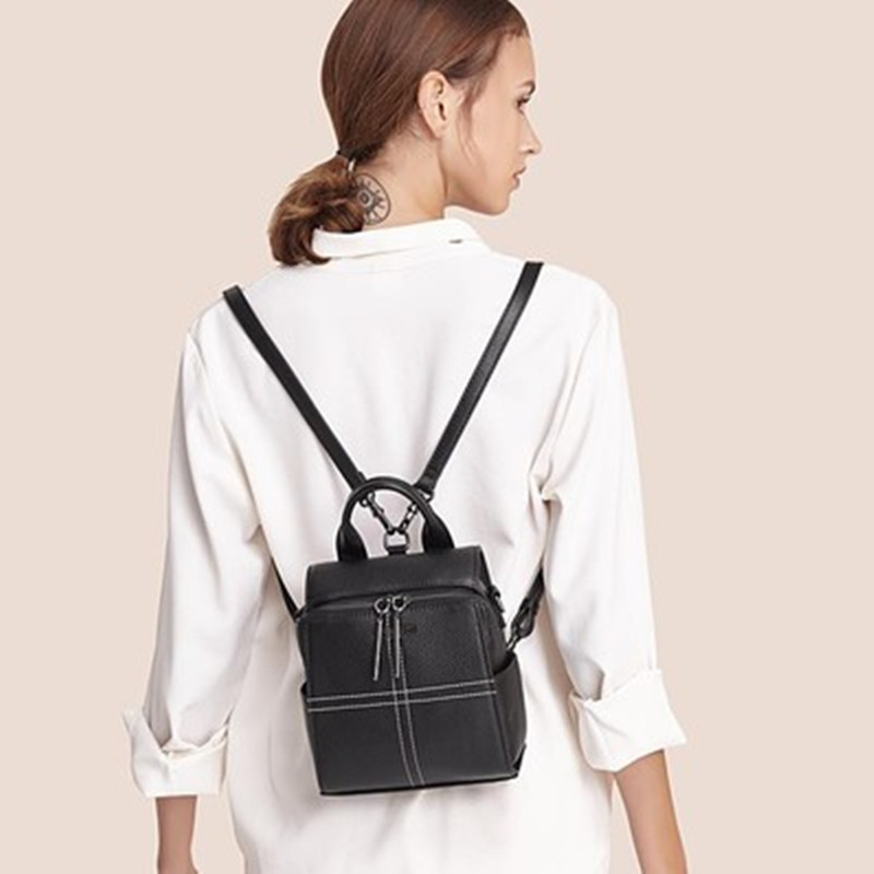 2019 Real Leather Female First Layer Backpack New Fashion  Genuine Preppy Style Shoulder Bags