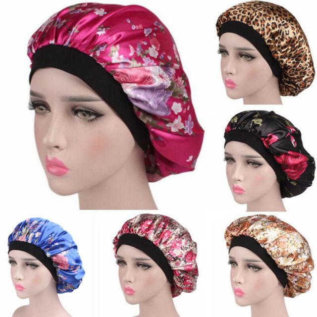 Women Satin Night Sleep Cap Salon Shower Hair Bonnet Hat Silk Head Cover Wide Elastic Band Wide Sleeping Hair Care Nightcap