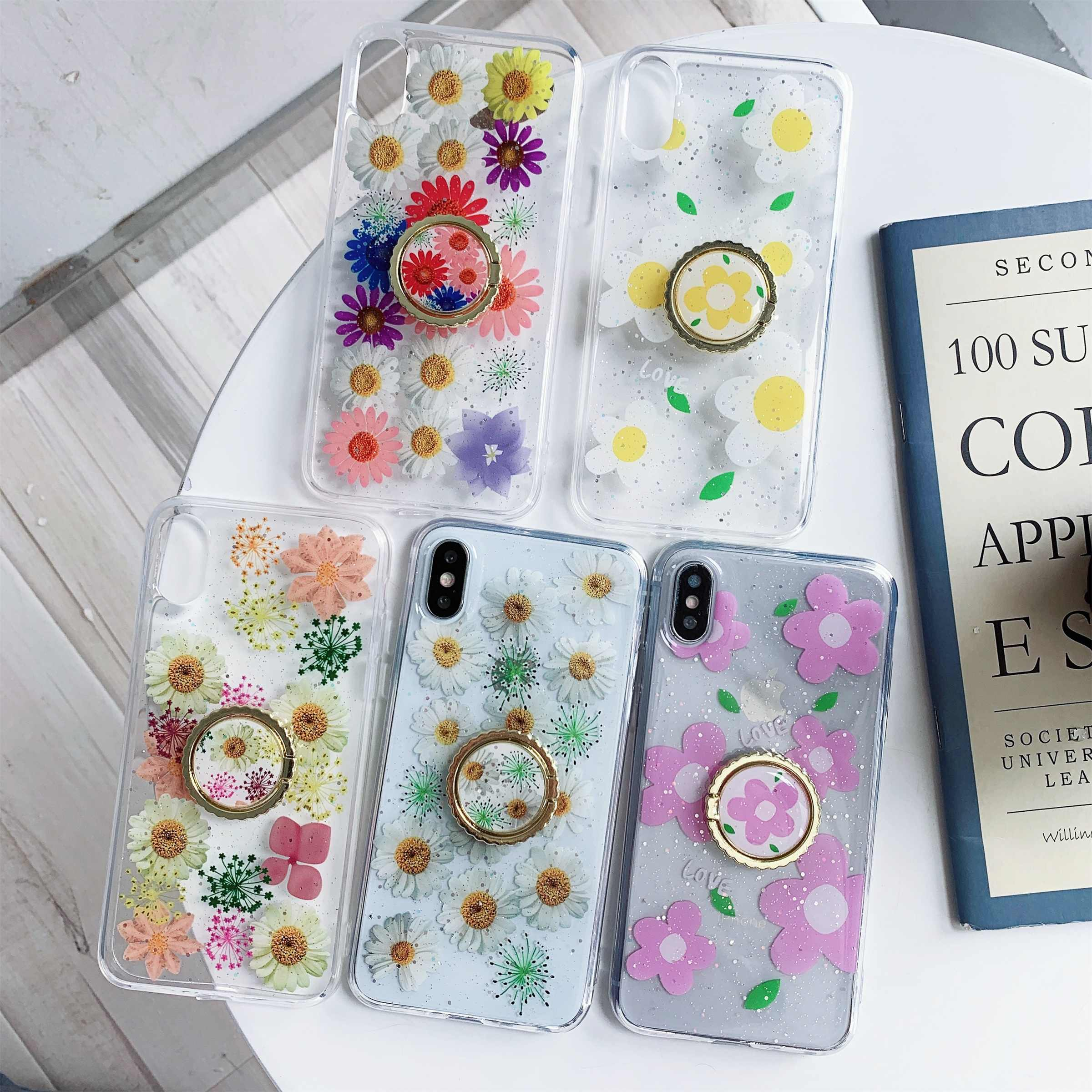 For Huawei P20/Pro/Lite P30/Lite/Pro Nova3/3i/4 Mate20/Pro Sun Floral Glitter Resin Transparent phone CaseCover With Finger Ring