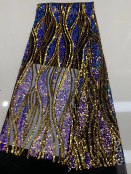 2020 High Quality Sequins African Sequins Net Lace Embroiderd French Tulle Lace Fabric Nigerian Sequins Lace For Wedding party