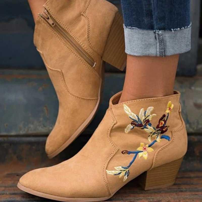 HEFLASHOR 2019 Mode Vrouwen Enkellaars Dame Wees Laarzen Grote Size Fashion Dragen Laarsjes Autunm Winter Schoenen Lage Hakken schoenen