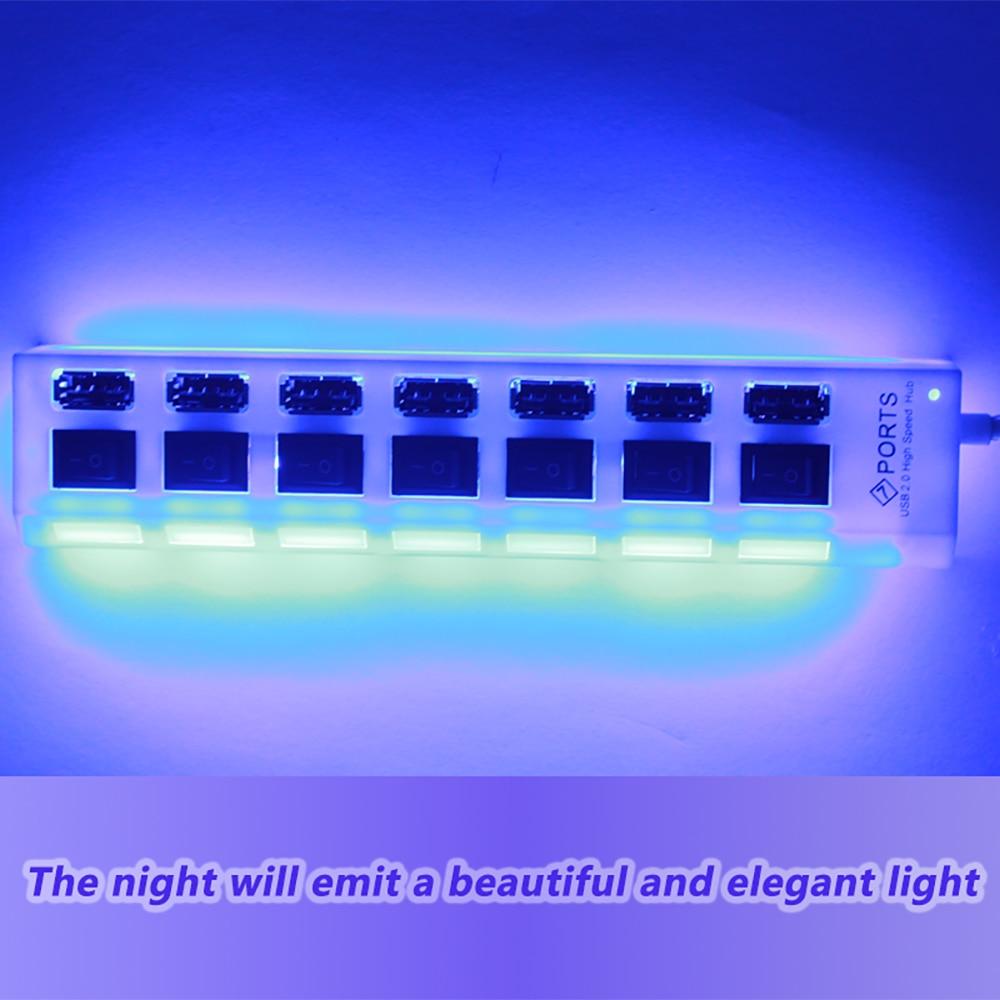 מפצל בעל 7 כניסות למחשב עם תאורה