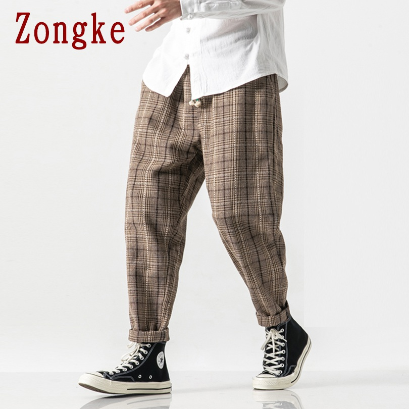 Zongke Heavyweight Plaid Pants Men Joggers Trousers Men Pants Streetwear Sweatpants Harem Pants Men Trousers 5XL 2019 Autumn