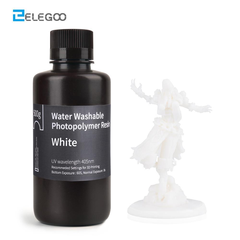 Смола для 3D-принтера ELEGOO, моющаяся в воде, 500 нм, белая