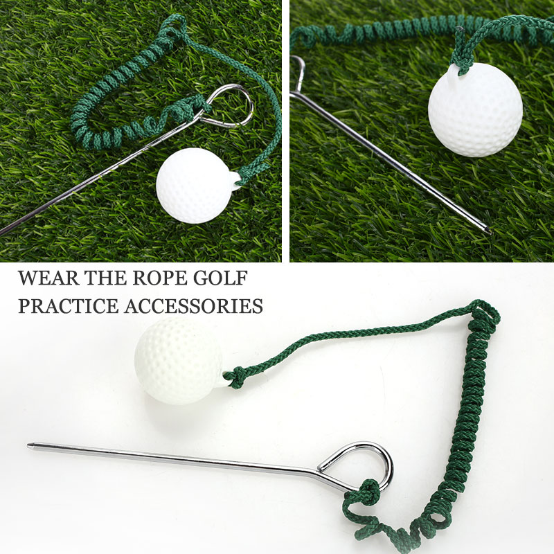 Portable Golf Ball Rope Trainning Balls Rope Metal Green Golf Rope Ball Durable Practical Outdoor Trainging Aids Sport
