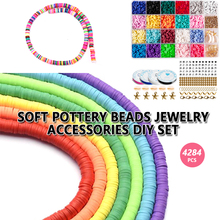 4284Pcs/Box Clay Flat Beads Disk Beads Round Clay Spacer Beads with Elastic Strings Arts Crafts DIY Kits Jewelry Making Supplies