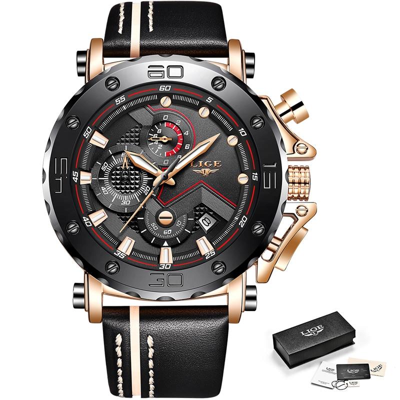 2020LIGE New Fashion Mens Watches Top Brand Luxury Big Dial Military Quartz Watch Leather Waterproof Sport Chronograph Watch Men 6