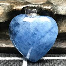 Натуральный Лисий мех голубой аквамарин кулон сердце для Для женщин с украшением в виде кристаллов 23x10 мм бусины камень прозрачный 925 серебро Цепочки и ожерелья кулон ювелирные изделия AAAAA