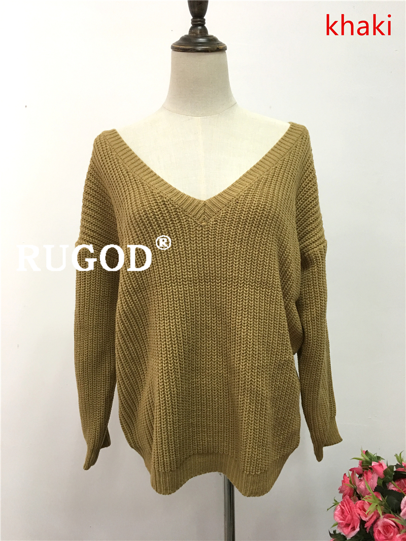 Rugod 19 New Sexy Backless V-neck Sweater Women Pullover Autumn Winter Casual Knitted Sweater Femme Tricot Pullover Jumpers 11