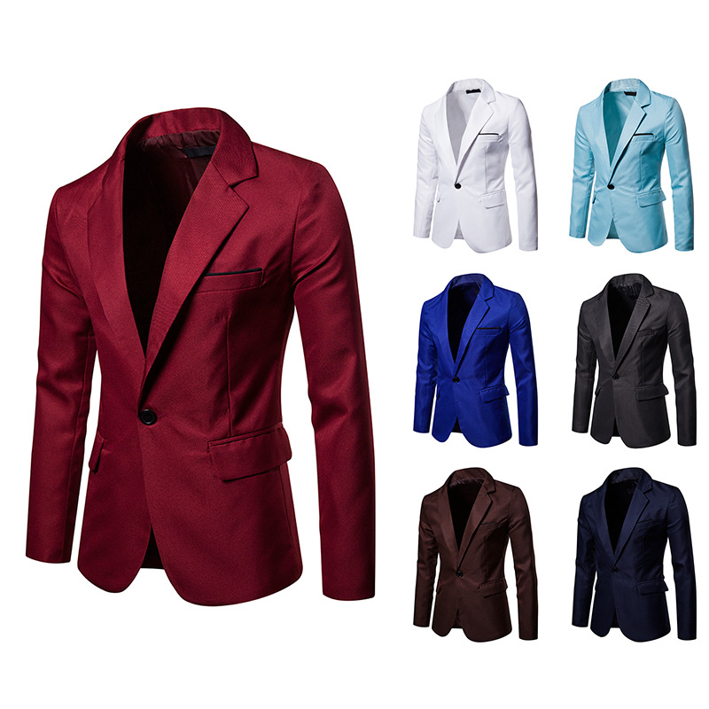 Mens Blazer 2020 New Men's Fashion Single-button 8 Solid Color Workplace  Business Casual Slim Mens Blazer Jacket