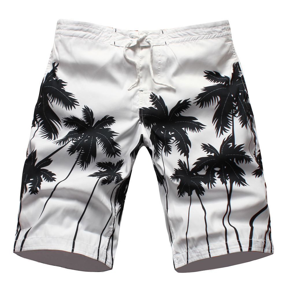 Quick Dry Men's Summer Casual Shorts Male Board Beachwear Bermudas Coconut Palm Printed Elastic Waist