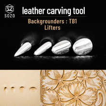 SOZO TB1 Leather Work Carving Pattern Stamps Lifters Sheridan Saddle Making Printing Tools Set 304 Stainless Streel