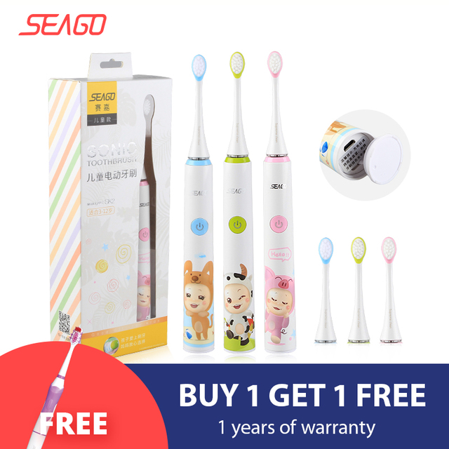 SEAGO 전동 칫솔 어린이 안전 방수 어린이 음파 칫솔 2pcs 여분의 부드러운 Bristles SK2