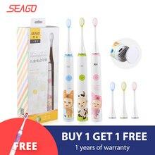 SEAGO Elektrische Zahnbürste für Kinder Sicherheit Wasserdichte Kinder Sonic Zahnbürste Mit 2 stücke Extra Weichen Borsten SK2