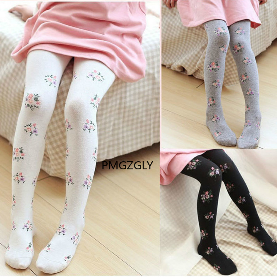 Girls Tights Stockings Pantyhose Flower Knitted Toddler Baby Child-Style Kids Cotton title=
