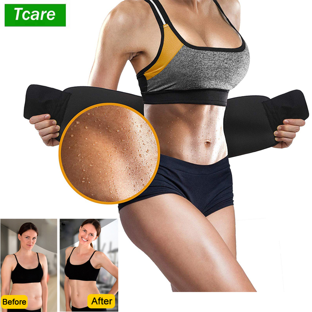 Tcare Neoprene Slimming Lumbar Waist Trimmer Belt Weight Loss Sweat Band Wrap Fat Tummy Stomach Sauna Sweat Belt For Gym Fitness