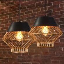 Nordic Retro Loft Golden Plated Diamond Shape Iron Pendant Light with E27 Edison Bulb Hang Lamp for Bar Cafe Dining Room стоимость