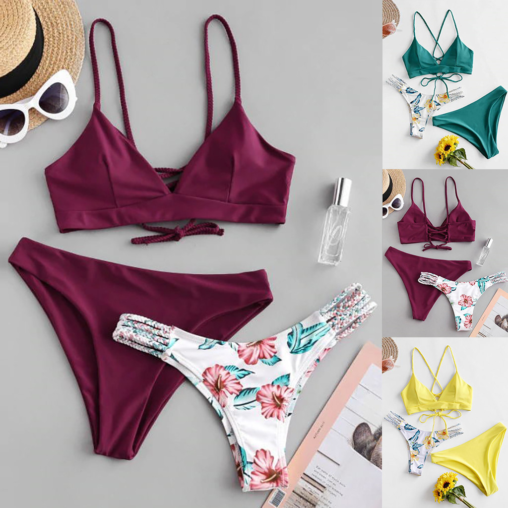 2019 Hot Sales Women's Print Bathing Suit Hot Sexy Bandage Underwear Set Padded Wire Free Lengerie Lady Summer Vacation Intimate