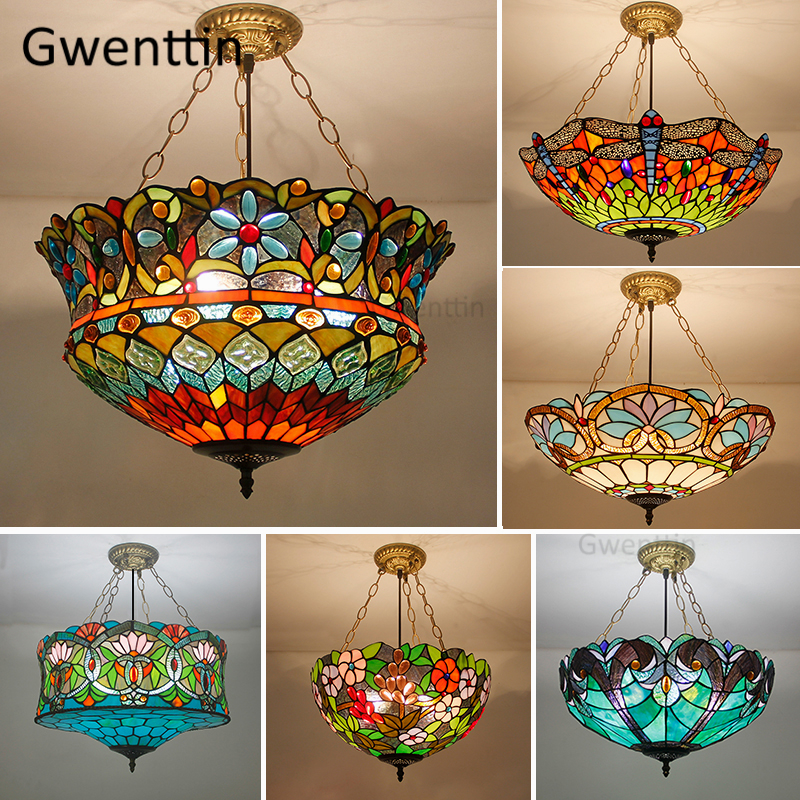 Mediterranean Tiffany Stained Glass Pendant Lights Vintage Hanging Lamp For Dining Room Kitchen Light Fixtures Home Art Decor