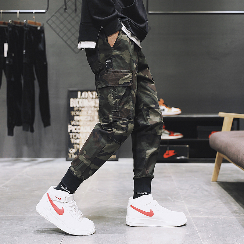 Men Pants Super Hot Pants Baggy Pocket Decoration Men's Cargo Pants Girdle Leg Small Feet Men's Cargo Pants