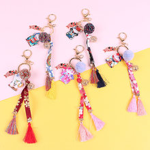 2020 Japan department restoring ancient ways wind hand - made cloth art embroidery flower cat fortune key chain bag pendant(China)