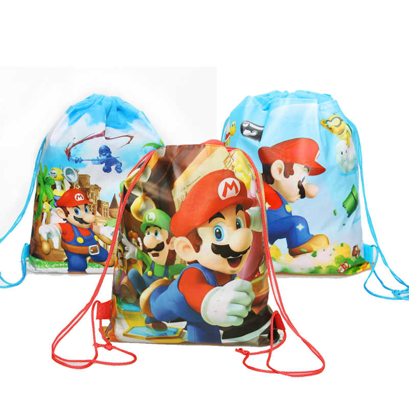 1Pcs Cartoon Super Mario Bros Thema Birthday Party Gifts Non-Woven Trekkoord Goodie Bags Kids Favor Zwemmen School rugzakken
