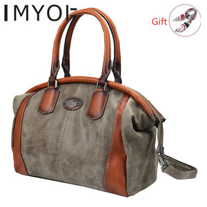 Image 1 - IMYOK Vintage Leather Womens Totes Luxury Hand Bags Ladies Designer Handbag Large Capacity Women Shoulder Bag Feminina 2020