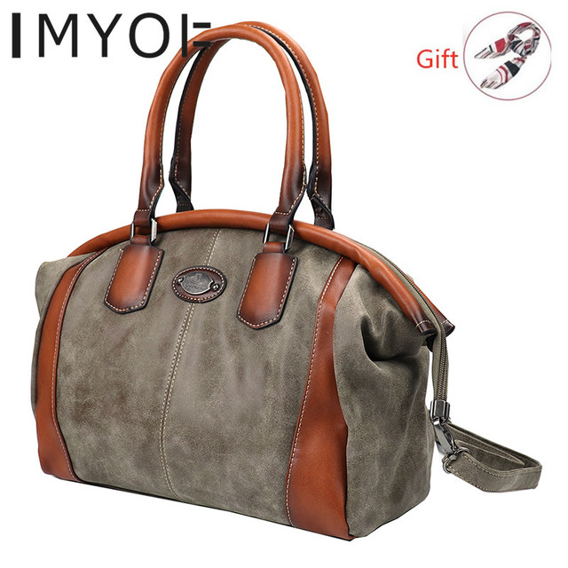 IMYOK Vintage Leather Womens Totes Luxury Hand Bags Ladies Designer Handbag Large Capacity Women Shoulder Bag Feminina 2020