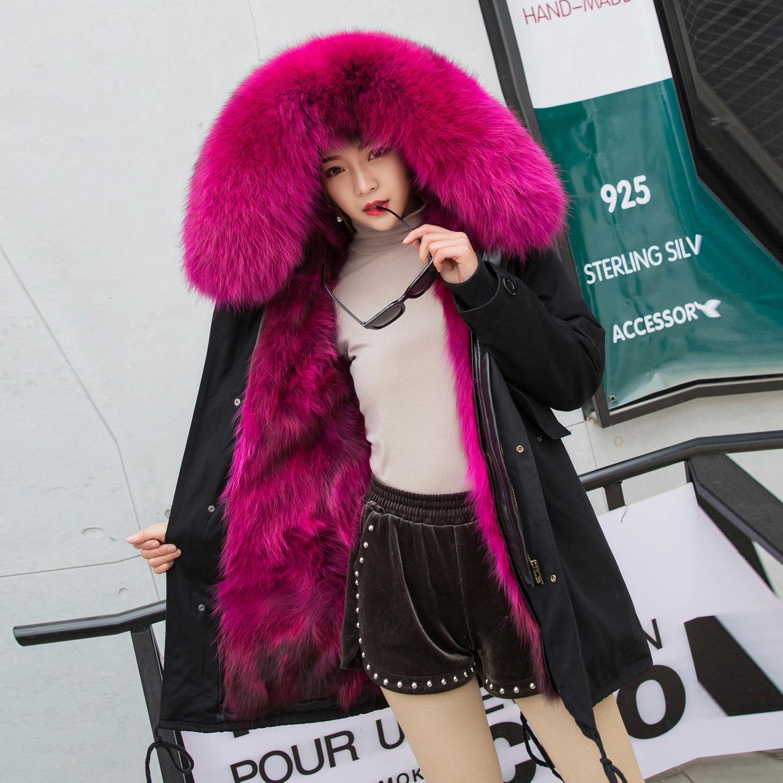 2020 Raccoon Dog Fur Coat Women Winter Thickening Parkas With Real Fox Fur Collar Female Warm Outwear WSHM1122 MF310