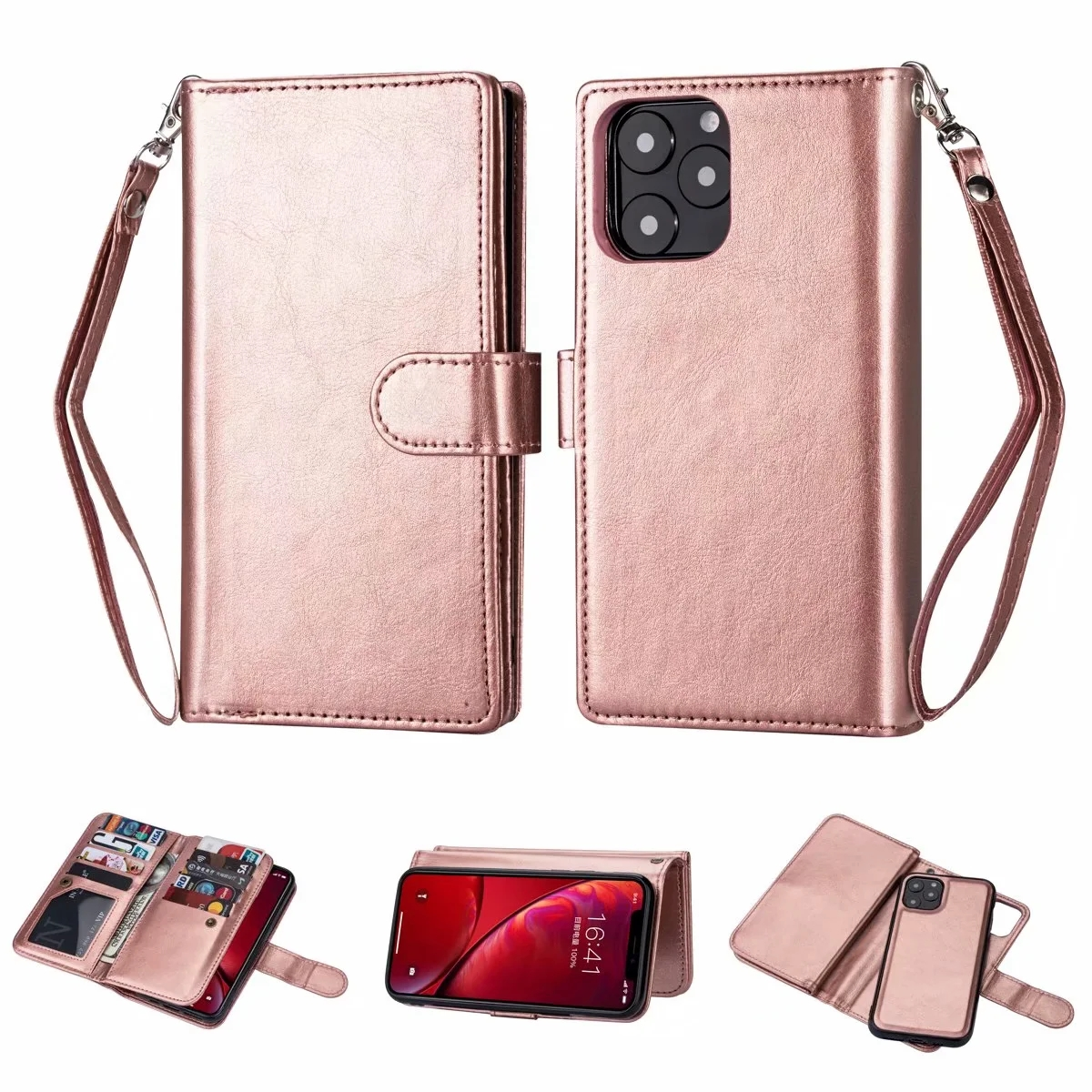 Nine card two in one Leather Wallet Case for iPhone 12 11 Pro Max 12Mini X XS Max XR 8 7 6 6S 5 Plus  Cover Case