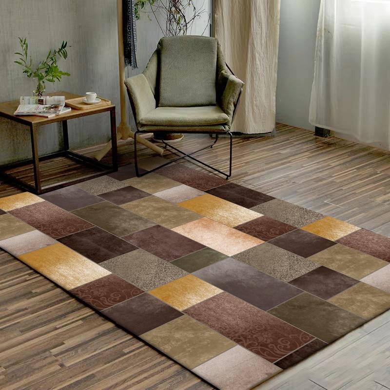 Luxury Yellow Brown Green Floor Mat Geometric Pattern Splice Carpet Living Room Door Mat Custom Made Mat Bedroom Plush Rug
