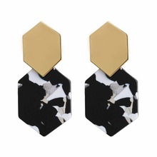 Women Statement Hexagon Acrylic Earring Charm Vintage Long Exaggerated Resin Geometric Jewelry Pendientes Shellhard