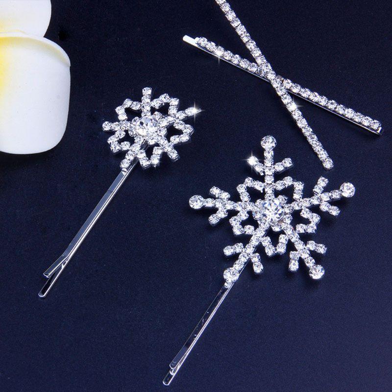 Women Girls Winter Snowflake Bobby Pins Glitter Rhinestone Jewelry Hair Clip