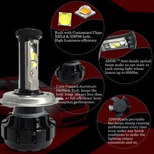 Image 2 - CNSUNNYLIGHT Super Helle Auto LED Scheinwerfer Kit H4 H13 9007 Hallo/Lo H7 H11 9005 9006 w/ XHP50 chips Ersatz Lampen 6000K Lichter