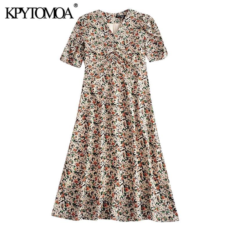 KPYTOMOA Women 2020 Chic Fashion Floral Print Pleated Midi Dress Vintage Puff Sleeve With Lining Back Zipper Female Dresses