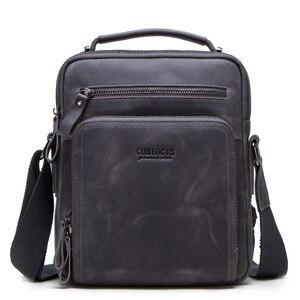 Image 5 - High quality brand crazy horse leather mens shoulder bag vintage messenger bags men bolsos male crossbody bags mans handbag