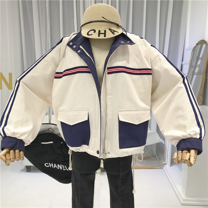 Fall Jacket Women Stand Neck 2019 Pockets Womens Jackets and Coats Loose Japanese Streetwear Women 39 s Demi season Jackets in Jackets from Women 39 s Clothing