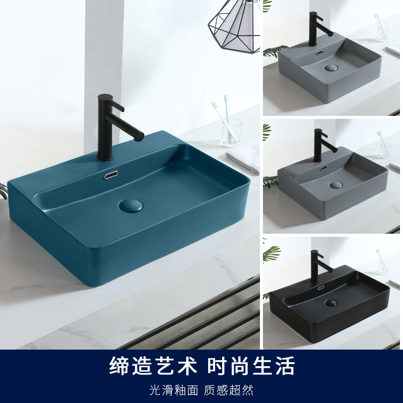 Nordic Dark Green Matte Square Countertop Ceramic Wash Basin Bathroom Sink Vessel Sink Single Bowl Black Kitchen Faucet