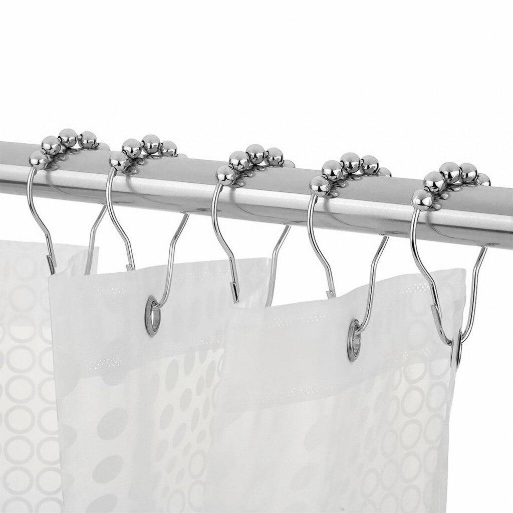 Shower Curtain Hooks Rings Rust-resistant Shower Curtain Rings Hooks 12pcs Bathroom Rings Hooks Shower Curtain Poles drop ship