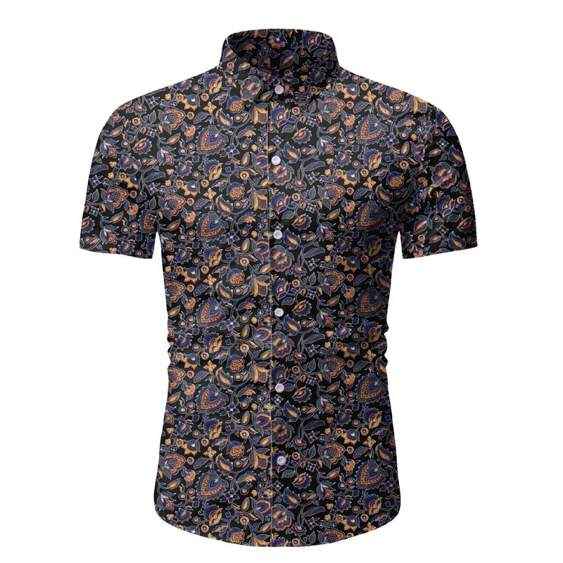 Vintage Floral Hawaiian Shirt 2020 Brand Slim Fit Short Sleeve Mens Dress Shirts Beach Casual Hawaii Shirt Men Camisa Masculina