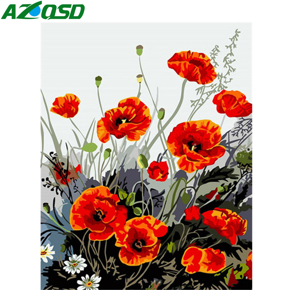 AZQSD Oil Painting By Numbers Flowers DIY Paint By Number Canvas Painting Full Kits For Adults Home Decor 40x50cm DIY