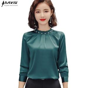 Image 1 - Long Sleeve Beading Shirt Women Fashion New Autumn O Neck Loose Chiffon Blouse Office Ladies Plus Size Work Tops