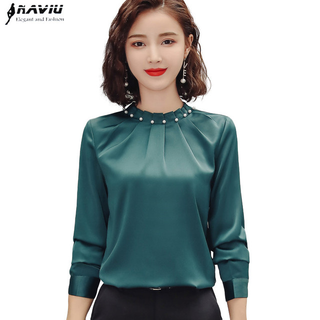 Long Sleeve Beading Shirt Women Fashion New Autumn O Neck Loose Chiffon Blouse Office Ladies Plus Size Work Tops