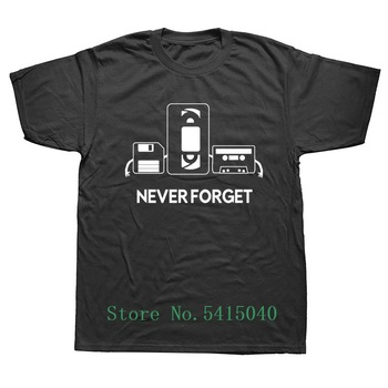Short Sleeve Style T-Shirts Men Summer Never Forget Floppy Disc Vhs Cassette Tech Geek T Shirts Male Undershirts Tshirts