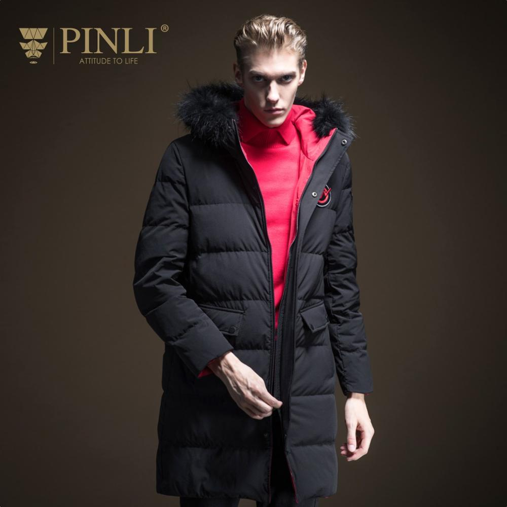 Sobretudo 2019 Limited Down Jacket Pinli New Winter Men's Fit Mid Long Coat With Wool Collar B194208812