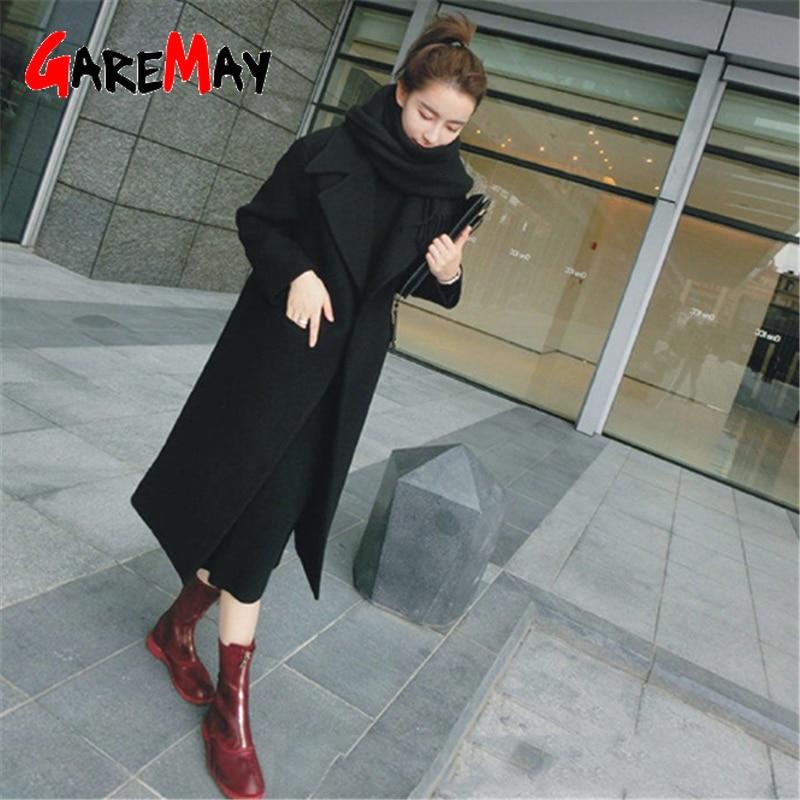 Mulher Casacos de Inverno 2019 Casaco De Lã Coreano Causal Quente Engrossar Casaco Longo Casaco Fino Plus Size Casaco Cinza Longo Poncho mulheres casaco