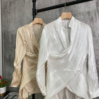 2020 Summer New Fashion French Sexy Temperament Fold Thin and Irregular Blouses Shirts